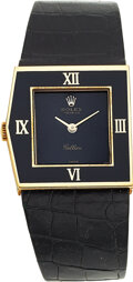 Timepieces:Wristwatch, Rolex, Rare King Midas 18k Gold Watch With Enameled Bezel,...