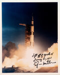 Explorers:Space Exploration, Edgar Mitchell Signed Apollo 14 Liftoff Color Photo.