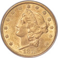 Errors, 1875-CC $20 -- Struck Through Reverse -- AU58 PCGS. Variety 1-B....
