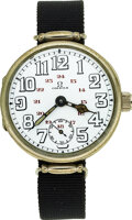 Timepieces:Wristwatch, Omega, Early Trench watch, 34mm Steel Case, Circa 1915...