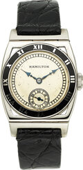 "Timepieces:Wristwatch, Hamilton, ""Piping Rock"",14k White Gold, Circa 1936. ..."