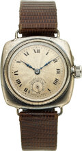 Timepieces:Wristwatch, Rolex, Very Early Oyster Cushion Extra Prima, Sterling Sil...