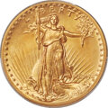 High Relief Double Eagles, 1907 $20 High Relief, Wire Rim MS65 PCGS. Ex: Simp...