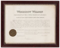 Autographs:Others, 1916 President Woodrow Wilson Signed, Framed Document....