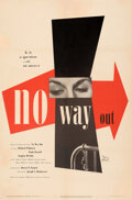 "Movie Posters:Film Noir, No Way Out (20th Century Fox, 1950). Fine/Very Fine on Linen. One Sheet (27"" X 41"") Paul Rand Artwork. . ..."