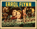 """Movie Posters:Western, Dodge City (Warner Bros., 1939). Fine/Very Fine. Linen Finish Title Lobby Card (11"""" X 14"""").. ..."""