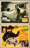 "Movie Posters:Swashbuckler, The Mark of Zorro (20th Century Fox, 1940). Very Fine. Title Lobby Card & Lobby Card (11"" X 14"").. ... (Total: 2 Items)"