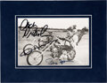 Movie/TV Memorabilia:Autographs and Signed Items, Jack Nicholson/Dennis Hopper/Peter Fonda Signed Easy Rider Photo With Matte....