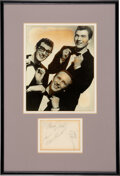 Music Memorabilia:Autographs and Signed Items, Buddy Holly and the Crickets Signed Paper With Vintage Photo....