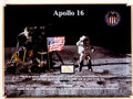 Explorers:Space Exploration, Apollo 16: LM Flown Lunar Dust Stained Velcro Fragment in an Illustrated Acrylic Display....