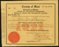 Obsoletes By State:Hawaii, Lahaina, HI- County of Maui Tobacco, Cigar, and Cigarette License 1921 Very Fine.. ...