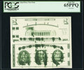 Giori Press Test Note Uncut Face and Back Pair with Heavy Ink Smears ND (1976) PCGS Gem New 65PPQ