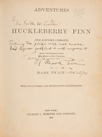 [Mark Twain]. Samuel Clemens Signed Copy of The Adventures of Huckleberry Finn (Tom Sawyer's Comrade