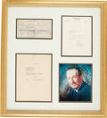 Movie/TV Memorabilia:Autographs and Signed Items, Walt Disney Signed Check Matted and Framed with Two LOAs (1954)....