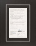 Music Memorabilia:Autographs and Signed Items, The Beatles/John Lennon Double Signed Apple Contract Loan Agreement in Matte with Photo of John and Yoko (August 18th,1972)....