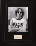 """Music Memorabilia:Autographs and Signed Items, The Beatles/John Lennon Autographed Paper (4"""" x 6"""") in Mat With Iconic Photo of John Taken by Bob Gruen...."""