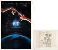 Movie/TV Memorabilia:Original Art, E.T. The Extra-Terrestrial Original Playbill Poster With An Original Matted Sketch.... (Total: 2 Items)