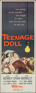 """Movie Posters:Bad Girl, Teenage Doll (Allied Artists, 1957). Rolled, Very Fine. Insert (14"""" X 36""""). Bad Girl.. ..."""