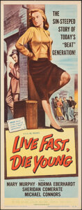 """Movie Posters:Bad Girl, Live Fast, Die Young (Universal International, 1958). Folded, Very Fine. Insert (14"""" X 36""""). Bad Girl.. ..."""
