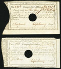 Connecticut Fiscal Paper Pair Signed by Ralph Pomeroy 1790-1791 Hole Cancel Extremely Fine. ... (Total: 2 notes)