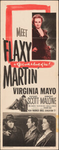 "Movie Posters:Crime, Flaxy Martin (Warner Bros., 1949). Folded, Fine+. Insert (14"" X 36""). Crime.. ..."