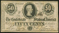 Confederate Notes:1864 Issues, Advertising Note T72 50 Cents 1864 Crisp Uncirculated.. ...
