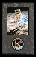 """Explorers:Space Exploration, Buzz Aldrin Signed Apollo 11 Lunar Surface """"Visor"""" Color Photo Matted and Framed with an Embroidered Mission Insignia Patch."""