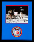 """Explorers:Space Exploration, John Young Signed Apollo 16 Lunar Surface """"Leaping"""" Flag S..."""