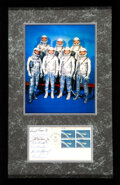 """Explorers:Space Exploration, Mercury Seven Signed """"Project Mercury"""" First Day/ Mercury-Atlas 6 Launch Cover with Plate Block Affixed, Matted and Framed wit..."""