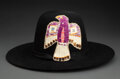 American Indian Art:Beadwork and Quillwork, A Sioux Quilled Hide / Felt Hat...