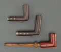 American Indian Art:Pipes, Tools, and Weapons, A Sioux Woman's Pipe and Two Cree Pipe Bowls... (Total: 6 )