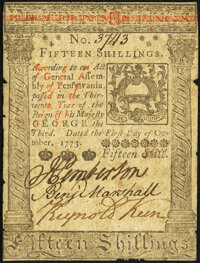 Pennsylvania October 1, 1773 15s Very Fine-Extremely Fine