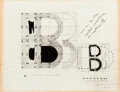 Works on Paper, Chryssa (1933-2013). Analytical Search of Letter B and Study for the Metal Sculpture of the Letter B (two works), 19... (Total: 2 Items)