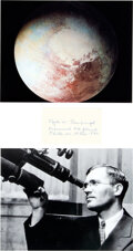 Explorers:Space Exploration, Clyde W. Tombaugh: Signature with Two Photos for Display.