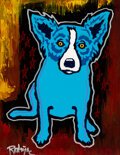 Paintings, George Rodrigue (1944-2013). Blue Dog. Silkscreen and acrylic paint on canvas board. 14 x 11 inches (35.6 x 27.9 cm). Si...