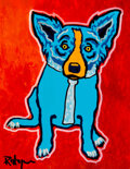 Paintings, George Rodrigue (1944-2013). Blue and Orange Dog. Silkscreen and acrylic paint on canvas board. 14 x 11 inches (35.6 x 2...