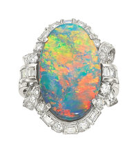 Black Opal, Diamond, Platinum Ring