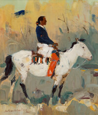 Laverne Nelson Black (American, 1887-1938) Indian Rider Oil on board 12 x 10 inches (30.5 x 25.4 cm) Signed lower l