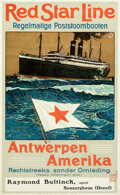Movie Posters:Miscellaneous, Red Star Line: Antwerp to America (International Mercantile Marine Company, 1911). Very Fine- on Linen. Belgian Travel Poste...