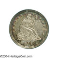 Seated Quarters: , 1858-O 25C MS62 PCGS. The obverse is toned in gray and ...