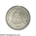 Proof Seated Quarters: , 1863 25C PR64 PCGS. Although both sides of this near-Gem ...