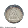 Proof Seated Quarters: , 1864 25C PR64 Cameo PCGS. An exceptional proof from the ...
