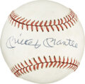 Autographs:Baseballs, Mickey Mantle Single Signed Baseball. The OAL (Brown) baseball isthe repository for the single most coveted signature of m...