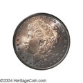 Morgan Dollars: , 1880 $1 MS65 PCGS. A mesmerizing layer of dove-gray, ...