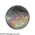 Morgan Dollars: , 1881-S $1 MS65 PCGS. Teal, turquoise, scarlet, yellow, ...