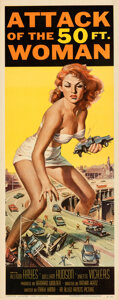 """Movie Posters:Science Fiction, Attack of the 50 Foot Woman (Allied Artists, 1958). Folded, Very Fine+. Insert (14"""" X 36"""") Reynold Brown Artwork.. ..."""