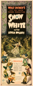 """Movie Posters:Animation, Snow White and the Seven Dwarfs (RKO, 1937). Fine/Very Fine on Paper. Insert (14"""" X 36"""").. ..."""