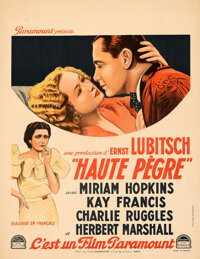 """Trouble in Paradise (Paramount, 1933). Very Fine+ on Linen. French Moyenne (23"""" X 29.5"""")"""
