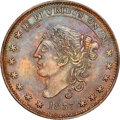 1837 Liberty-Not One Cent, Low-30, HT-45, W-11-110a, R.2, MS64 Brown NGC. Copper, plain edge