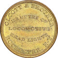 (1845-55) Rochester, New York, Olcott & Brother, M. NY-1019 MS65 NGC. Brass, reeded edge. Ex: Donald G. Partrick